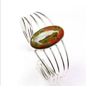 Unakite Gem Silver Plated Cuff Bracelet Adjustable
